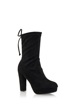 Faux Suede Mid-Calf Platform Boots with Cinch Top - 3113057181651