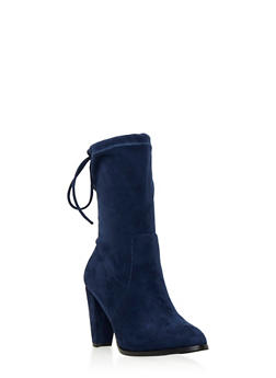 Faux Suede Mid-Calf Boots with Cinch Top - 3113057181652