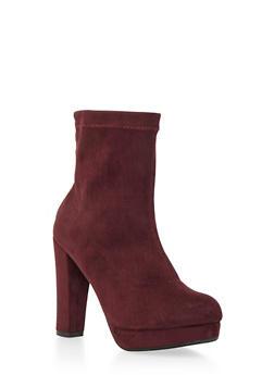 Faux Suede Platform Ankle Boots - 3113057181653