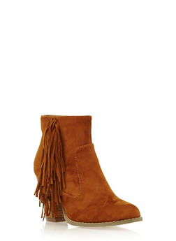 Faux Suede Ankle Boots with Fringe Accent - 3113057181655