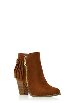 Faux Suede Ankle Boots with Fringe Trim - 3113057181658