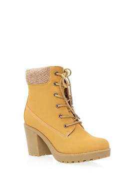 Heeled Work Boots with Sweater Collar - 3113057181665
