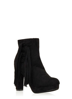Faux Suede Platform Ankle Boots with Fringe Accent - 3113057181673