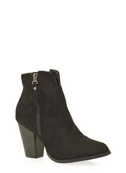 Faux Suede Ankle Boots with Side Zip Accents - 3113057181679