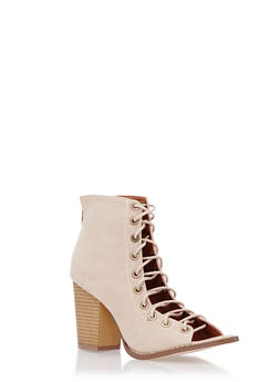 Faux Suede Lace-Up Ankle Boots with Open Toes - 3113061122743