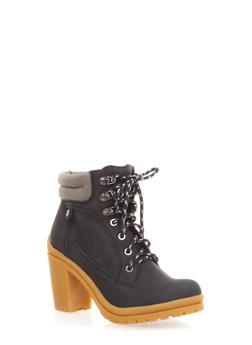 Faux Nubuck Stacked Heel Booties,BLACK W/GREY,medium