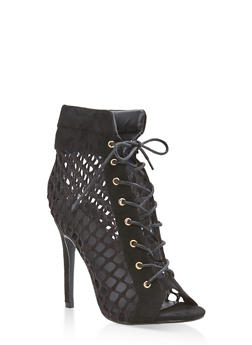 Fishnet Lace Up Booties - 3113070962593