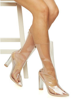 Clear Pointed Toe Boots - 3113070963552