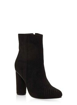 Perforated High Heel Booties - 3113073541751