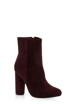 Perforated High Heel Booties - 3113073541751
