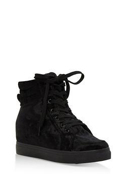 Crushed Velvet High Top Wedge Sneakers - 3114004062624