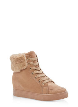 Faux Fur Lined High Top Wedge Sneakers - CAMEL F/S - 3114004062625