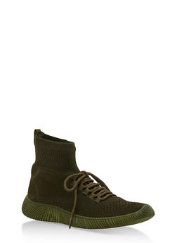 Tubular Sock Knit High Top Sneakers - OLIVE KNIT - 3114004063679