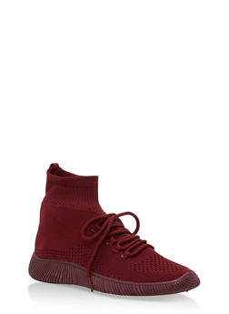 Tubular Sock Knit High Top Sneakers - BURGUNDY KNIT - 3114004063679