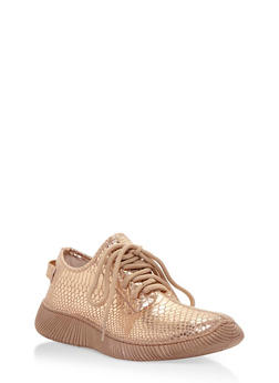 Snake Print Lace Up Sneakers - ROSE GOLD SNAKE - 3114004063681