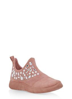 Rhinestone Side Zip Sneakers - MAUVE F/S - 3114004063685