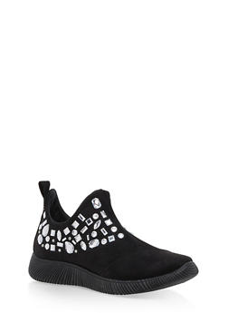 Rhinestone Side Zip Sneakers - 3114004063685