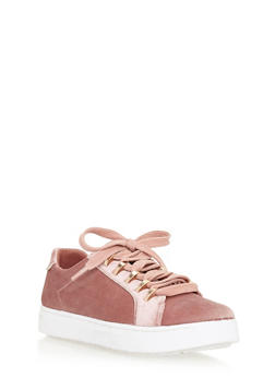Lace Up Metal Trim Tennis Sneakers - MAUVE VLT - 3114004064726