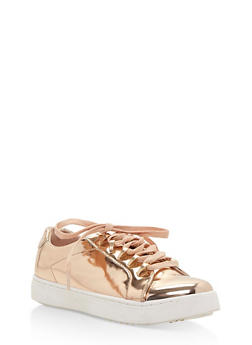 Lace Up Metal Trim Tennis Sneakers - ROSE GOLD PATENT - 3114004064726
