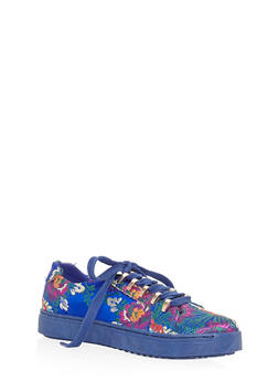 Lace Up Metal Trim Tennis Sneakers - BLUE FABRIC - 3114004064726