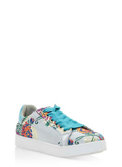 Lace Up Low Top Sneakers - WHITE FABRIC - 3114004064732