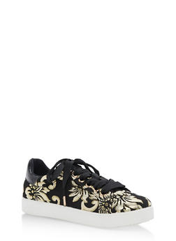 Lace Up Low Top Sneakers - BLACK/GOLD - 3114004064732