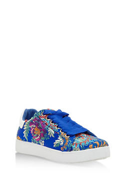 Lace Up Low Top Sneakers - BLUE FABRIC - 3114004064732