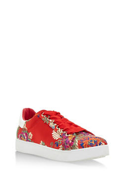 Lace Up Low Top Sneakers - RED FABRIC - 3114004064732