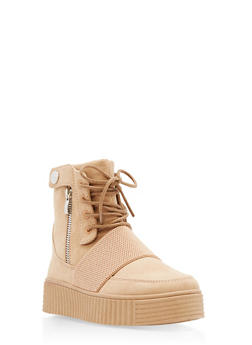 High Top Side Snap Faux Suede Creeper Boots - TAN F/S - 3114004064860