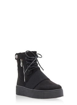 High Top Side Snap Faux Suede Creeper Boots - BLACK F/S - 3114004064860