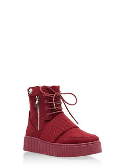 High Top Side Snap Faux Suede Creeper Boots - BURGUNDY F/S - 3114004064860