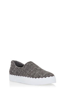 Solid Slip On Sneakers - GRAY KNIT - 3114004065688