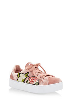 Floral Patches Lace Up Sneakers - MAUVE VLT - 3114004066283