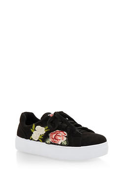 Floral Patches Lace Up Sneakers - BLACK F/S - 3114004066283
