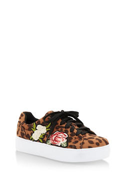 Floral Patches Lace Up Sneakers - LEOPARD PRINT FS - 3114004066283