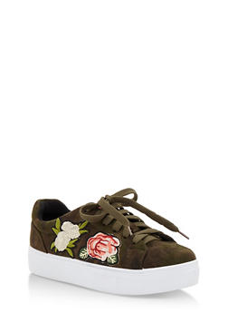 Floral Patches Lace Up Sneakers - CAMOUFLAGE FS - 3114004066283