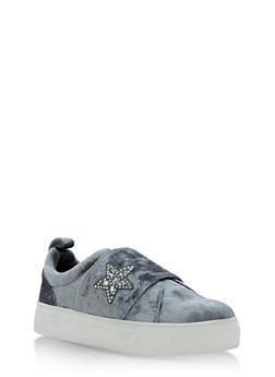 Slip On Sneakers with Rhinestone Star - 3114004066476