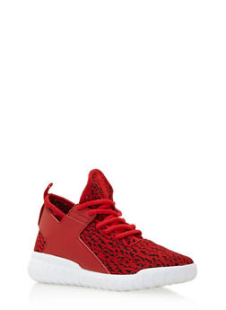 Textured Knit Sneakers with Faux Leather Trim - 3114049544474