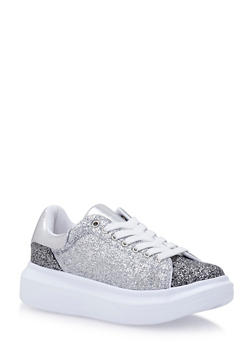 Platform Low Top Sneakers with Glitter Finish - 3114049548767