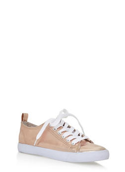 Lace Up Canvas Sneakers - ROSE GOLD - 3114062720187