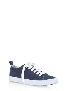 Lace Up Canvas Sneakers - BLUE DENIM - 3114062720187