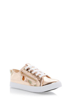 Lace Up Canvas Sneakers with Zipper Detail - ROSE GOLD - 3114062725492
