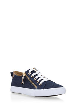 Lace Up Canvas Sneakers with Zipper Detail - BLUE DENIM - 3114062725492
