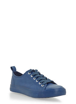 Faux Leather Lace Up Sneakers - NAVY - 3114062725499