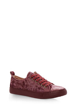 Faux Leather Lace Up Sneakers - 3114062725499