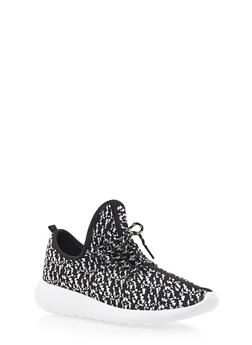 Patterned Knit Sneakers - BLACK - 3114070407352