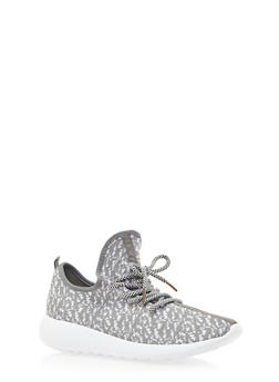 Patterned Knit Sneakers - GRAY - 3114070407352