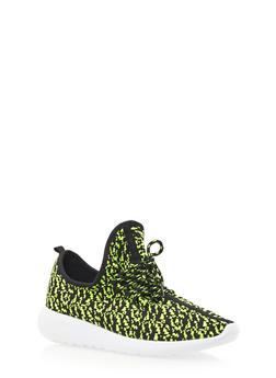 Patterned Knit Sneakers - GREEN - 3114070407352