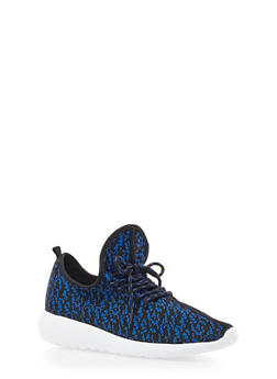 Patterned Knit Sneakers - BLUE - 3114070407352