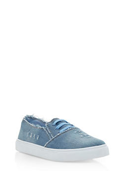 Denim Slip On Tennis Sneakers - 3114073541740